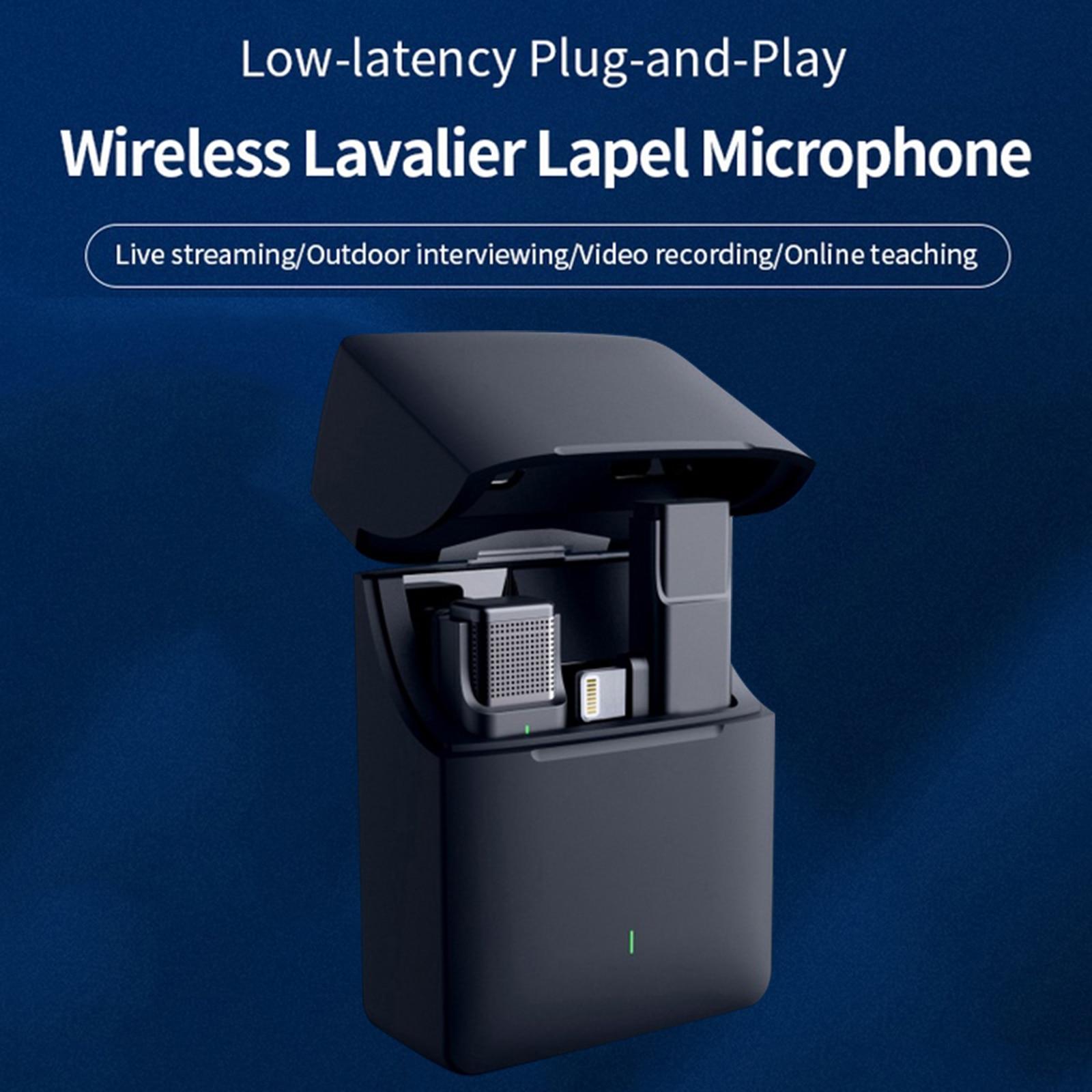 ميكروفون Lavalier لاسلكي جديد لعام 2021 لهاتف IPhone IPad Plug مع ميكروفون ببطارية 2.4 جيجاهرتز مع حافظة شحن لهاتف TikTok YouTube Facebook Vlog
