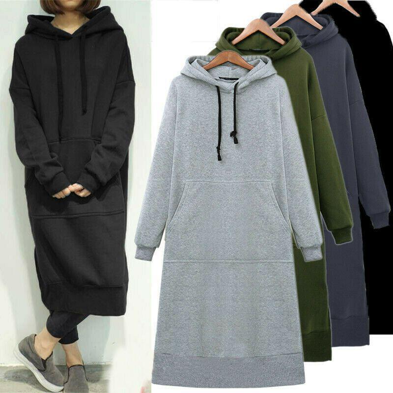 Женская свободная Длинная толстовка с капюшоном, повседневные однотонные толстовки с капюшоном, осенне-зимний мешковатый пуловер для студ...