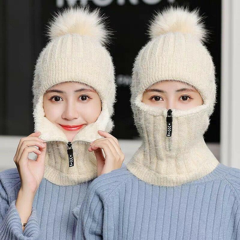 HIRIGIN Fashion thick warm knitted hat winter women smile face beanie earmuffs zipper decoration fur hat winter