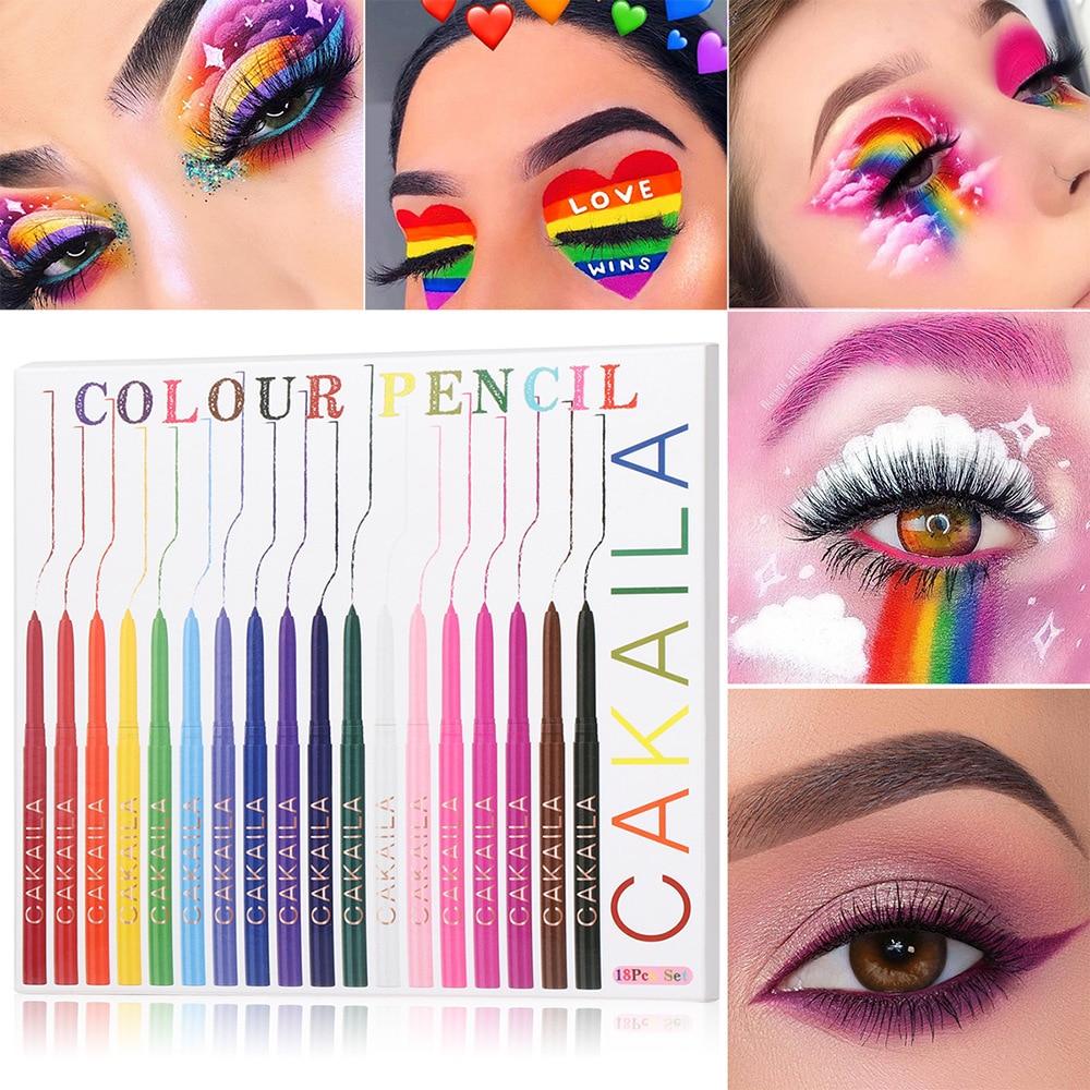 Rainbow Eyeliner Gel Pencil Set 18 Colors/Box Waterproof White Colorful Matte Eye Liner Cream Pen Lo