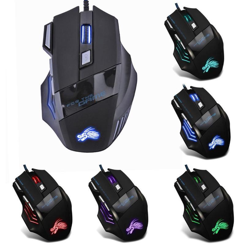Проводная игровая мышь 5500DPI, светодиодная оптическая мышь, геймерская мышь для компьютера, ноутбука, ПК, игровая мышь компьютерная