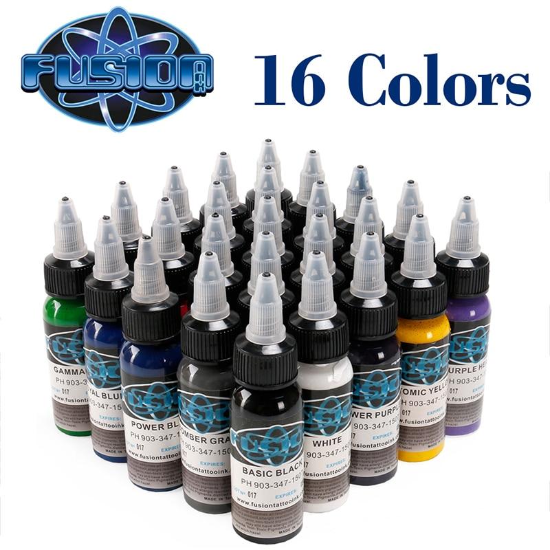 Buena valoración 30 ML/botella tatuaje aerógrafo tinta 16 colores pigmento conjunto para pintura corporal tatuaje pigmento de Color suministro de tatuaje