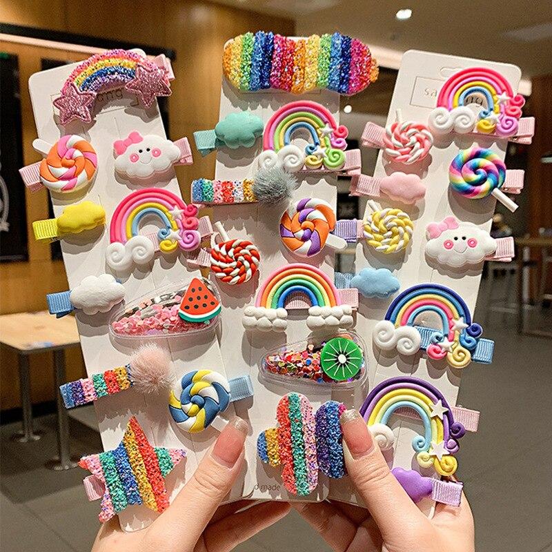 5 uds. Pinza para el pelo de niña bonita estrella arcoíris flor, pinza para el cabello para niños, accesorios para el cabello de moda, accesorios para el cabello, regalo