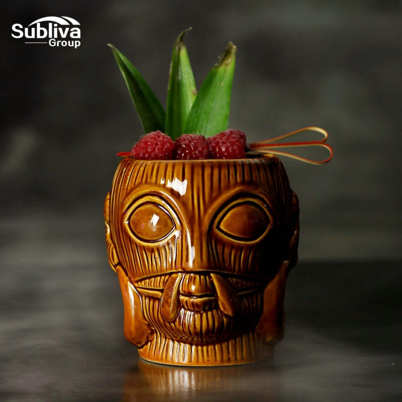 450ml Hawaii Tiki Mugs Cocktail Cup Beer Beverage Mug Wine Mug Ceramic Easter Islander Tiki Mug