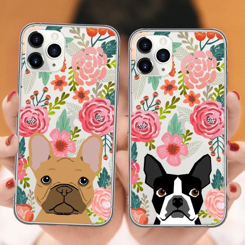 Funda de teléfono Corgi para iPhones 11Pro Max X XR XS MAX 6 6S Plus gato Pug Bulldog Francés de silicona suave cubierta trasera para iPhones 11 funda