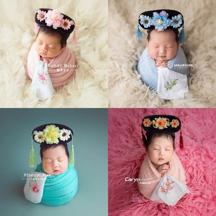 Estilo chinês retro dinastia qing gege modelagem bebê lua cheia recém-nascidos crianças fotografia headwear bandana lenço
