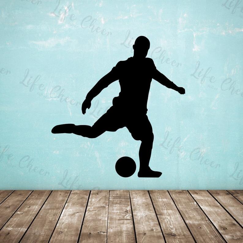 Portería de fútbol Kick pegatina Pared de fútbol jugador boca abajo tiro vinilo pegatina de pared calcomanías chico habitación deportes decoración de pared