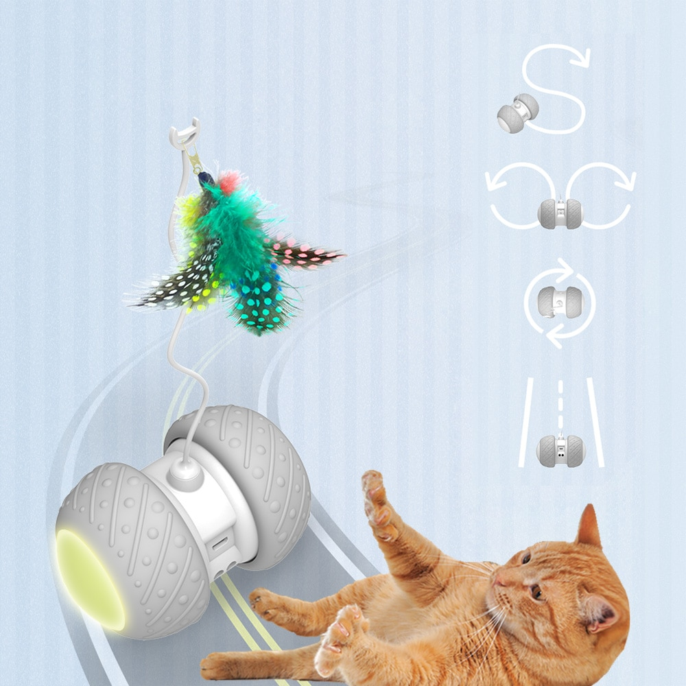 Smart Interactive Cat Toy Lrregular Rotating Mode Toy Cats Funny Pet Game Electronic Cat Toy LED Lig
