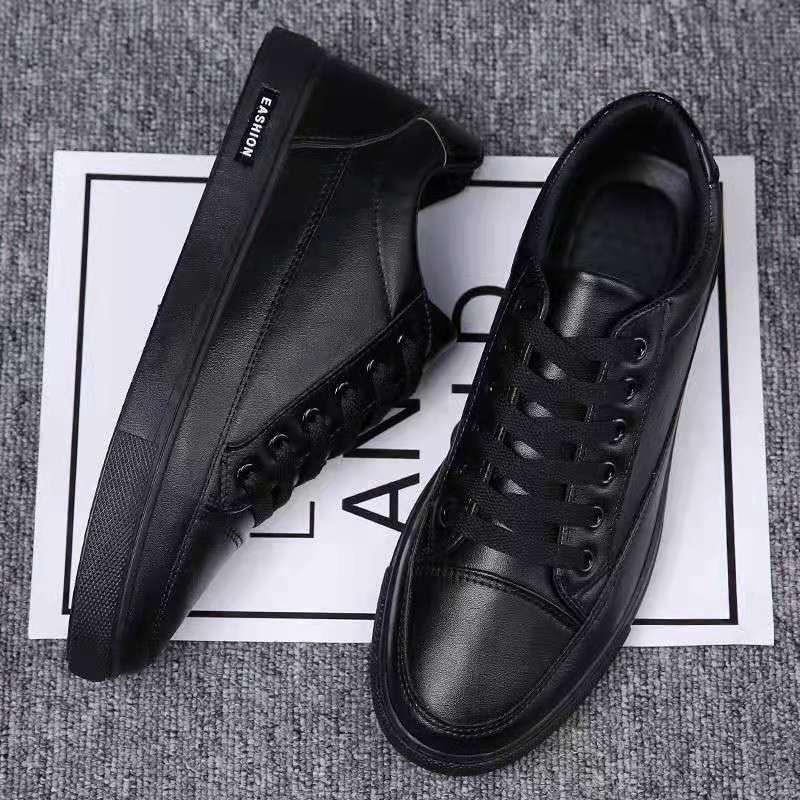 black Men's shoes non slip waterproof men's kitchen pure black tide  men's small black shoes work  casual