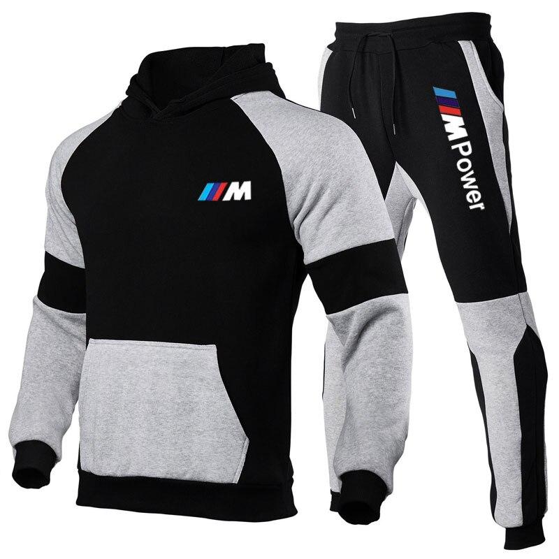 2 Piece Sportsman Suit Men's Hooded Sweatshirt + Pants Pullover Hooded Sweatshirt Suit Men's Casual Dress Size Free Shipping