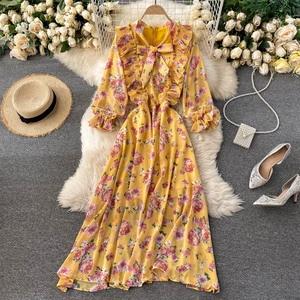 French Chiffon Floral Dress Women Bow Neck Puff Sleeve Ruffles A-Line Dresses Autumn Chic Boho Print Holiday Long Dress DZA386