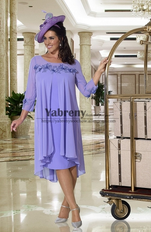 فستان أم العروس ، مقاس كبير ، منتصف الساق ، أكمام ، لافندر ، مجموعة جديدة