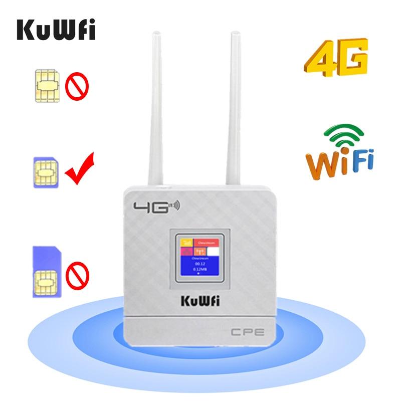 KuWfi 4G Sim Card Wifi Router CAT4 150Mbps Wireless CPE Router 4G LTE FDD/TDD Unlock Router With External Antennas WAN/LAN RJ45