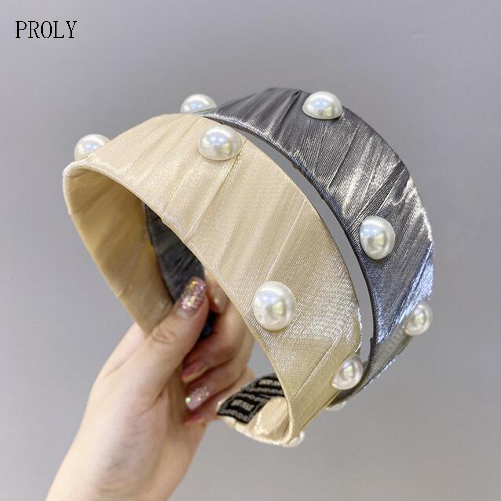 Женская Мягкая повязка на голову PROLY, летняя сетчатая повязка с жемчужинами, широкий тюрбан, Классические повседневные аксессуары для волос