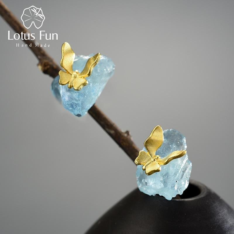 أقراط مرصعة بالأحجار الخام الطبيعية على شكل فراشة حساسة للسيدات 925 فضة مجوهرات فاخرة أصلية موضة 2021