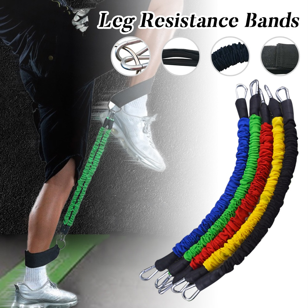 Leg Resistance Bands Fitness Latex Cord with Padded Ankle Straps 2 Stackable 35LBS Cables for Legs Home Fitness Equipment