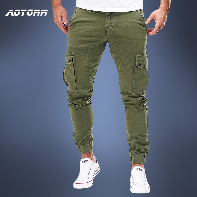 Men Cargo Military Pants Autumn Casual Skinny Pants Army Long Trousers Joggers Sweatpants 2021 Sport