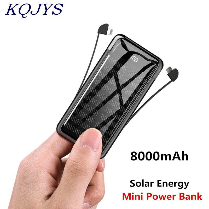 Portable Solar Power Bank Digital Display Battery Charging Pack Solar Powerbank 8000mAh Mini Power Bank USB Type-C Phone Cable