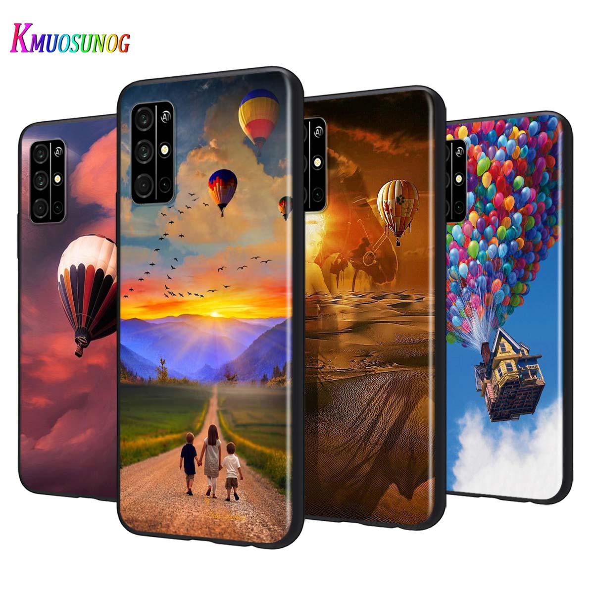 Funda negra de silicona con globo de aire caliente puesta de sol para Huawei Honor 9A 9C 9S 9X Lite 30 Pro Plus 20S 8A 8C 8S 87 7C 7S funda para teléfono
