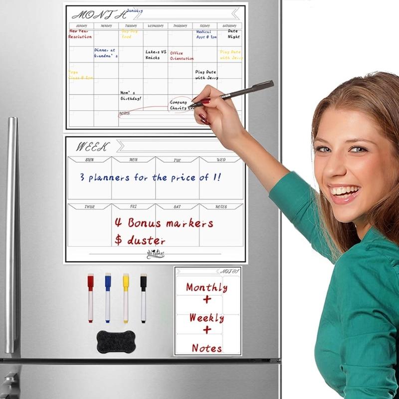 Erasable Magnetic White Board Kit Weekly Monthly Planner Calendar Wall Fridge 77HA