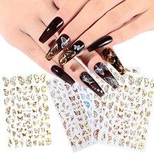 8 pièces/ensemble Nail Art Laser or et argent papillon autocollant printemps été papillon conçoit manucure ongles décor