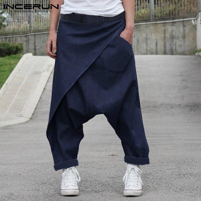 Calças masculinas harem joggers sólido streetwear cintura elástica algodão gota virilha calças masculinas vintage casual pantalones hombre incerun
