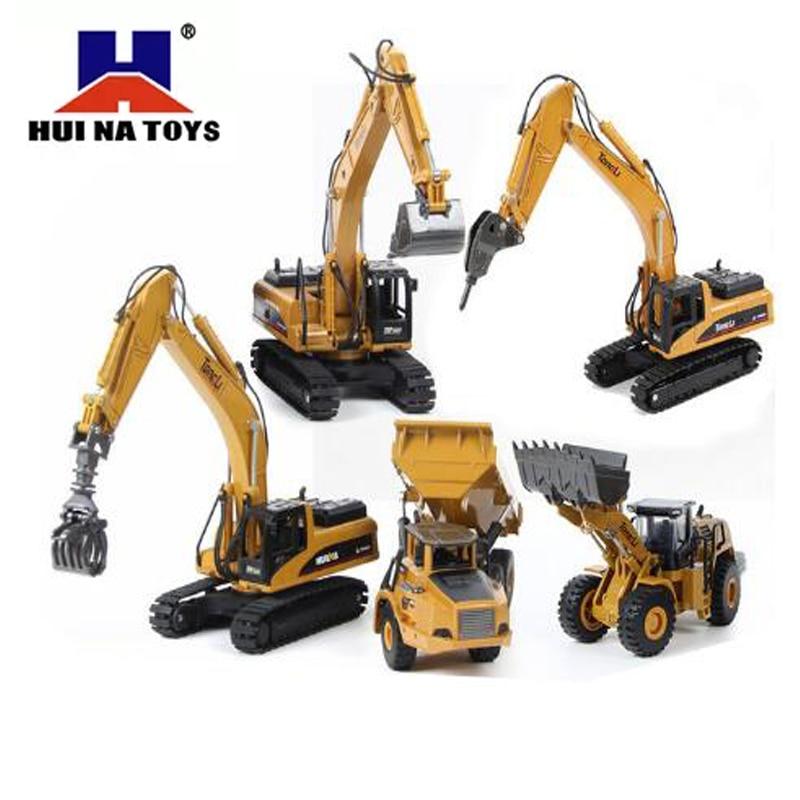 HUINA 1:50 Dump Truck Excavator Wheel Loader Diecast Metal Model Construction Vehicle Toys For Boys Christmas Birthday Gift Car