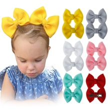 2Pcs/Set Bow Barrettes Baby Girls Hairpins Headwear Solid Color Kids Hair Clip Bohemian Style Hairgr