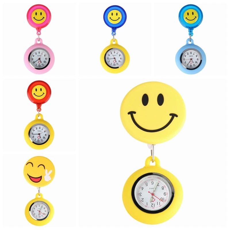 Fashion Yellow Cute Smiling Clip-on Fob Brooch Pendant Hanging Quartz Pocket Adjustable Watch For Medical Doctor Nurse Watches