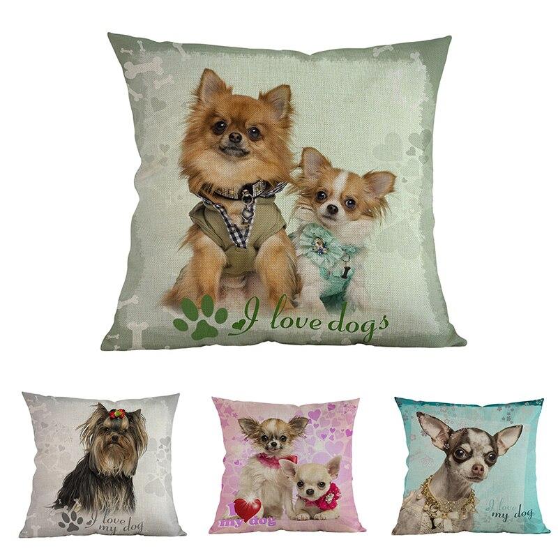 Чехол для подушки в виде милого щенка чихуахуа, йоркширского терьера, собаки с принтом, домашний декоративный диван, чехол для подушки