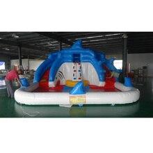 Tobogán inflable para niños toboganes de agua tiburón tobogán inflable con piscina separada