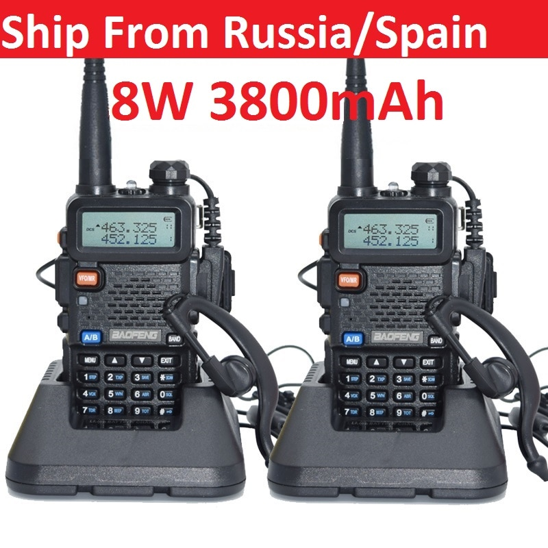 2pcs real 8W 3800mAh Baofeng uv 5r Walkie Talkie CB radio communicador UV-5R for hunting