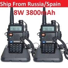 2020 2 sztuk prawdziwe 8W 3800mAh Baofeng uv 5r Walkie Talkie cb radio communicador Baofeng UV-5R na polowanie