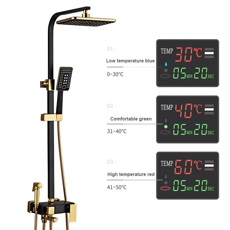 مجموعة دش مثبتة على الحائط مع شاشة LED رقمية ، خلاط حوض استحمام نحاسي ساخن وبارد ، رأس دش مطري