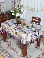 dining table decor high end long oval tablecloth table home foldable retractable purple tassel lace classical covering cloth