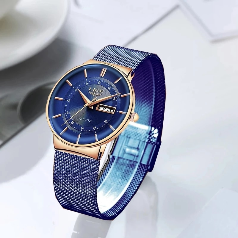 LIGE Women Watches Luxury Brand Ultra-thin Calendar Week Quartz Watch Ladies Mesh Stainless Steel Waterproof Gift reloj muje enlarge