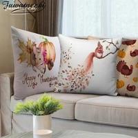 fuwatacchi squirrel print cushion cover cartoon animals pillowcases for home sofa car chair decorative pillows cover xmas gifts