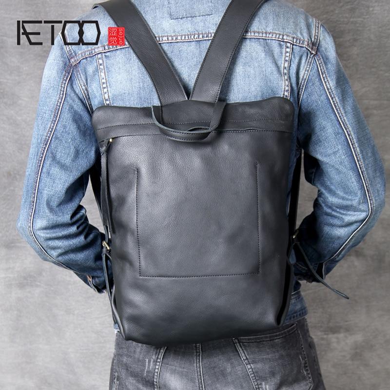 AETOO طبقة الرأس جلد البقر الحد الأدنى تصميم حقيبة كتف مزدوجة بسيطة على ظهره الرجال والنساء حقيبة جلدية مصنوعة يدويا