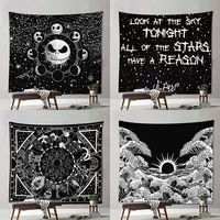 mandala tapestry white black sun and moon hippie tapestry wall hanging boho bedroom blanket curtain home decoration accessories