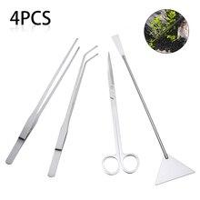 4pcs/set Live Plants Grass Scissor Tweezers Shovel Kit Stainless steel Aquarium Maintenance Tools for Fresh and Marine Aquarium
