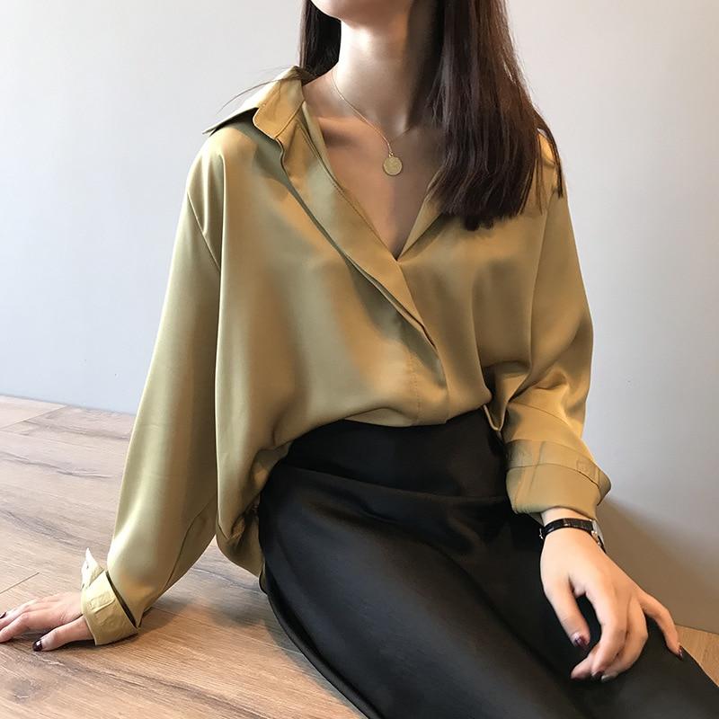 HLBCBG new chic casual loose poplin shirt female temperamen silk blouse women elegant Korean solid color oversize top