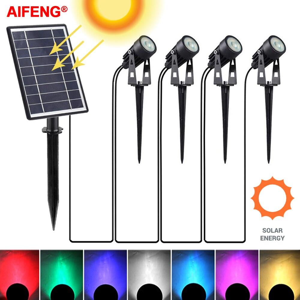 مصباح Led خارجي يعمل بالطاقة الشمسية مقاوم للماء IP65 ، مصباح كشاف ، إضاءة خارجية ، مثالي للحديقة أو العشب أو المسار.