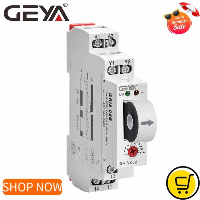 جديد GEYA GRI8-05 DC الحالي التتابع مستقيم من خلال 2A-20A AC24V-240V الإفراط الحالي تحت الحماية الحالية التتابع