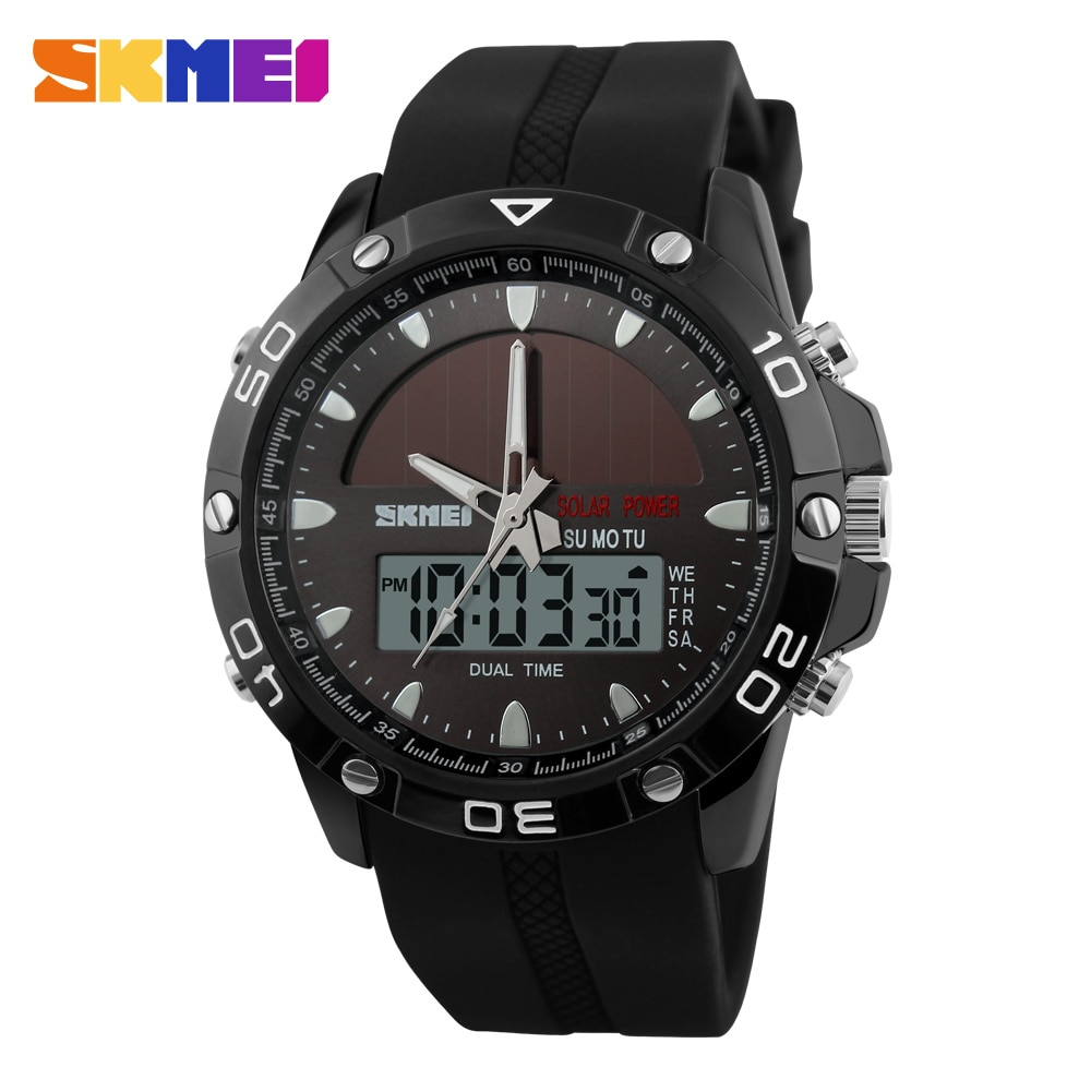 Спортивные часы SKMEI с двойным дисплеем, водонепроницаемые кварцевые часы с секундомером и календарем, 50 м, 1064