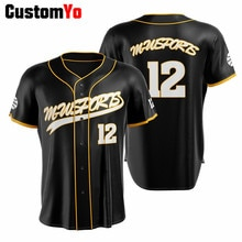 Men Button 100%Polyester Baseball Uniforms Custom Black Team Baseball Jersey