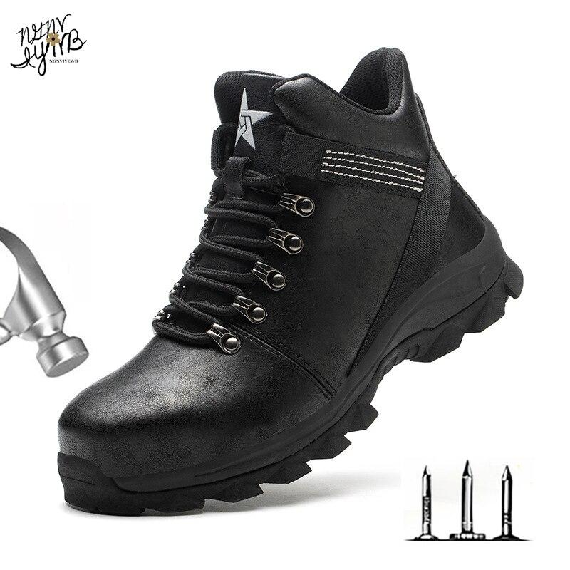 Botas de inverno homens sapatos de segurança indestrutíveis sapatos de trabalho à prova de punção tênis de trabalho masculino sapatos de dedo do pé de aço botas de segurança de trabalho 2020 Botas de segurança e trabalho    -