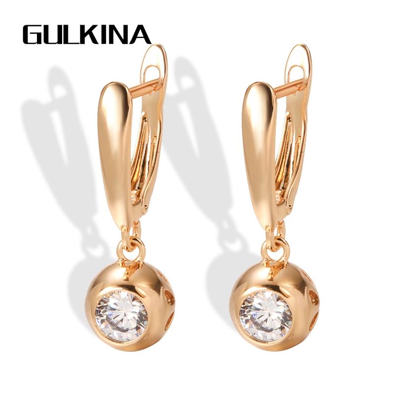 Gulkina Luxury 585 Rose Gold Women Long Earrings Round White Natural Zircon Dangle Earrings Fine Gif