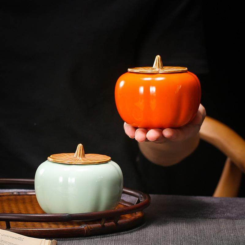 Mini forma de abóbora chá pode proclain recipiente de armazenamento selado canister café açúcar jar presente para restaurante casa-tamanho s (verde)