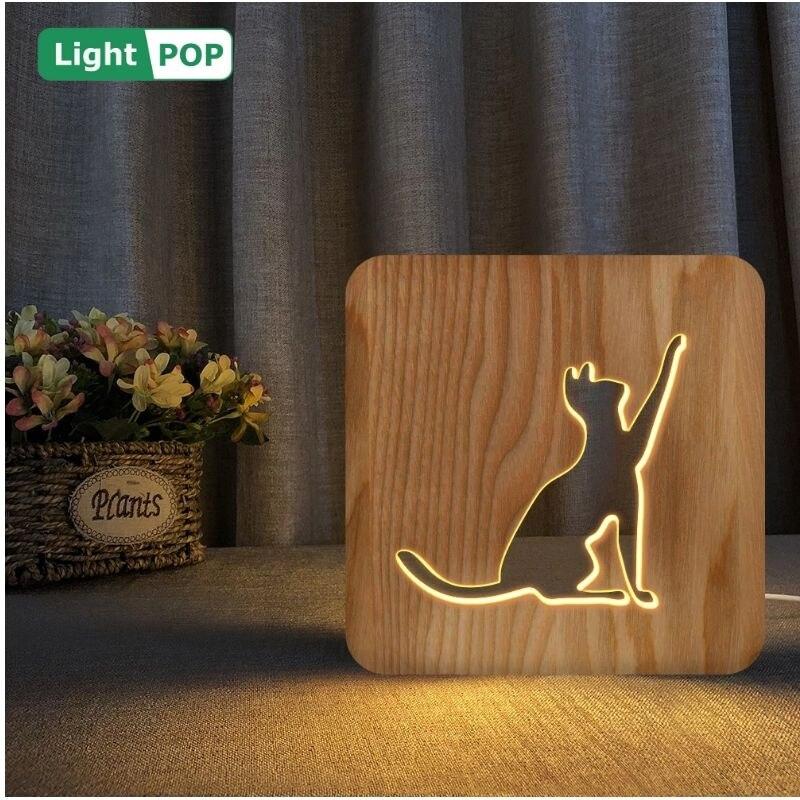 forma de gato 3d led tridimensional de madeira luz da noite customizavel natal decoracao