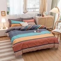4pcs colourful stripe warm bedding set winter easy care duvet cover flat sheet pillowcase full twin king queen size bedding set